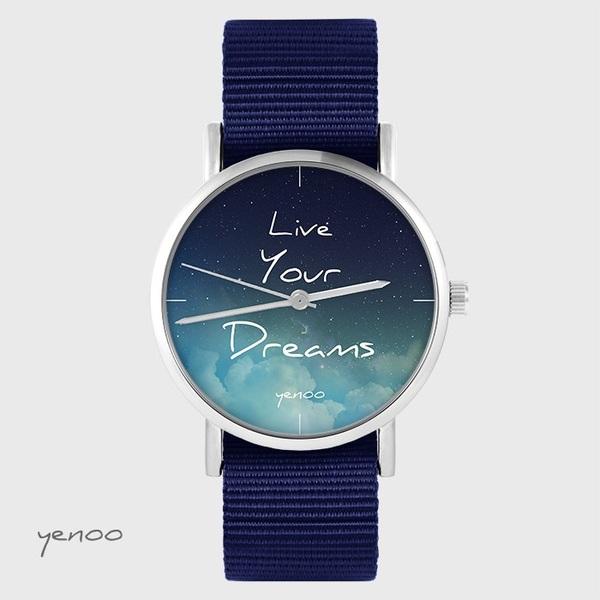 Zegarek yenoo - Live Your Dreams - granatowy, nato