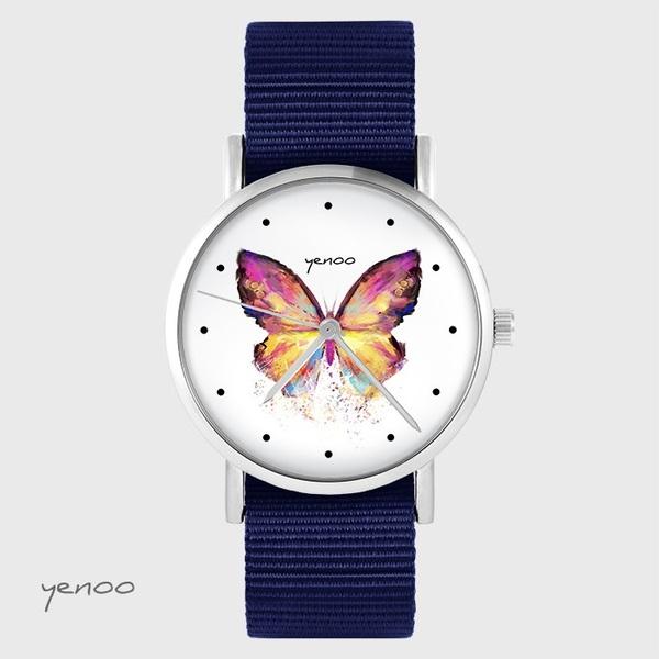 Zegarek yenoo - Motyl - granatowy, nato