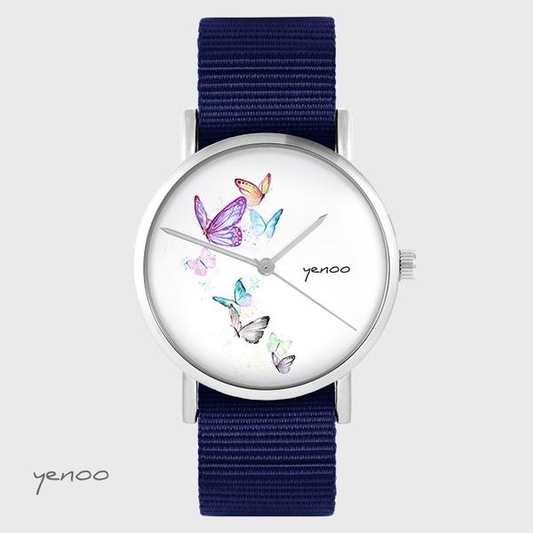 Zegarek yenoo - Motyle - granatowy, nato