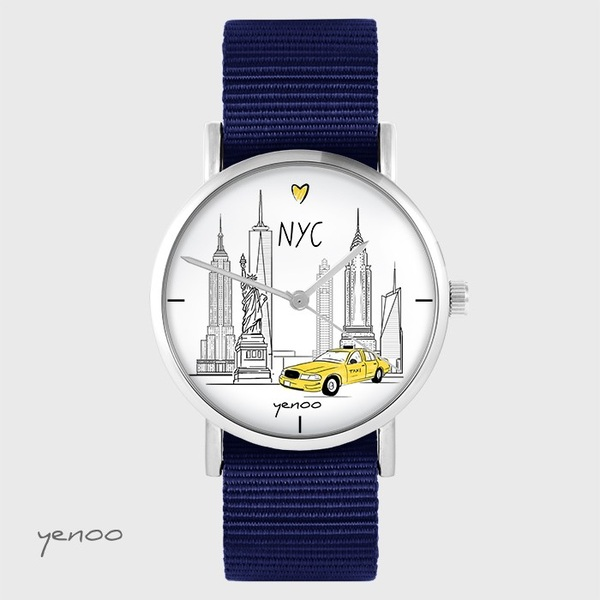 Zegarek yenoo - NYC - granatowy, nato
