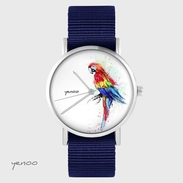 Yenoo watch - Red parrot - navy blue, nato