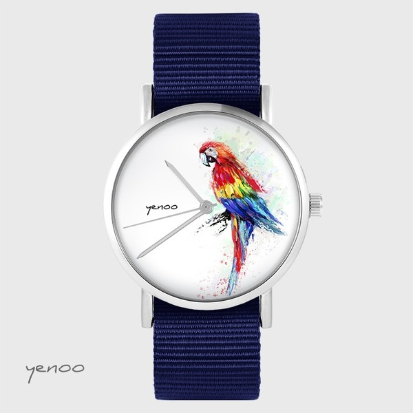 Yenoo watch - Red parrot - navy blue, nato