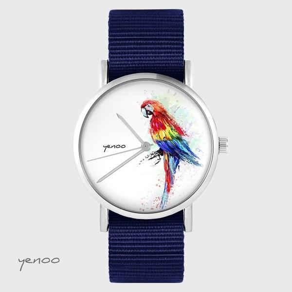 Zegarek yenoo - Papuga czerwona - granatowy, nato