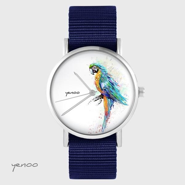 Zegarek yenoo - Papuga turkusowa - granatowy, nato