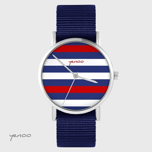 Zegarek yenoo - Paski - granatowy, nato