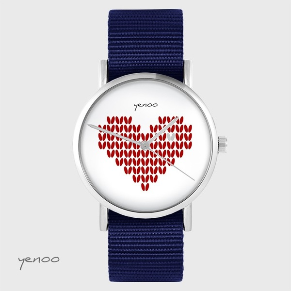 Yenoo watch - Knitted heart, red - navy blue, nato