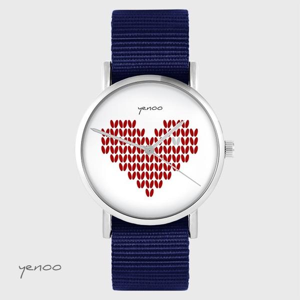 Zegarek yenoo - Serce dziergane, czerwony - granatowy, nato