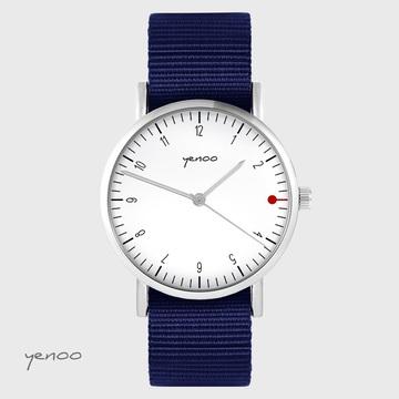 Yenoo watch - Simple elegance, white - navy blue, nato