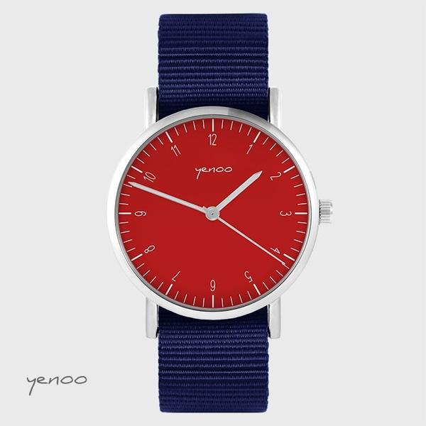Zegarek yenoo - Simple elegance, czerwony - granatowy, nato