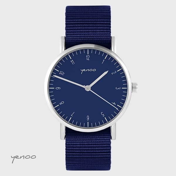 Yenoo - Simple elegance watch, navy blue - navy blue, nato