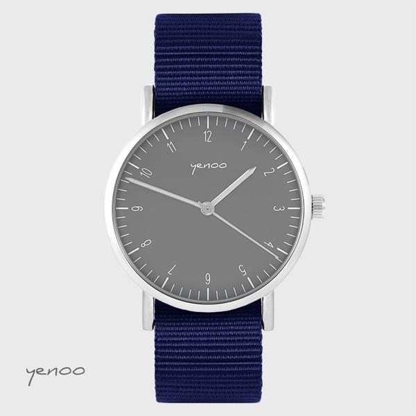 Zegarek yenoo - Simple elegance, szary - granatowy, nato