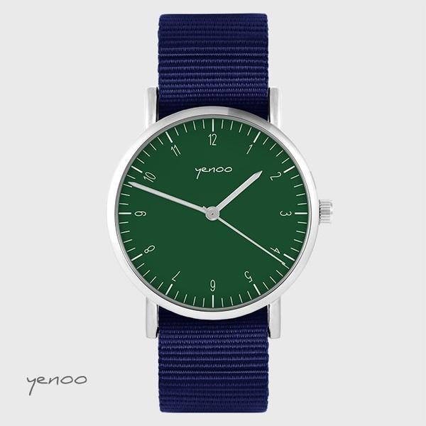 Zegarek yenoo - Simple elegance, zielony - granatowy, nato