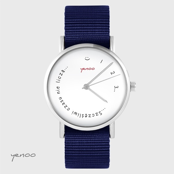 Yenoo watch - Happy do not count time - navy blue, nato