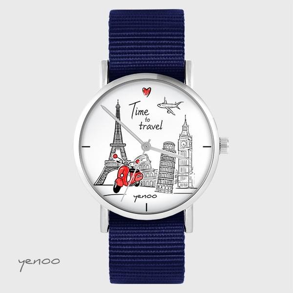 Zegarek yenoo - Time to travel - granatowy, nato