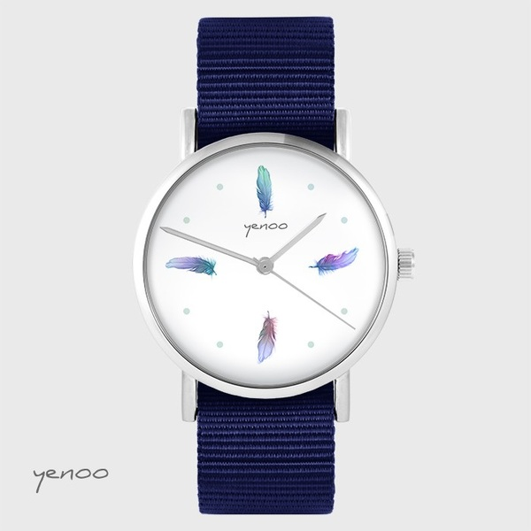 Yenoo watch - Turquoise feathers - navy blue, nato