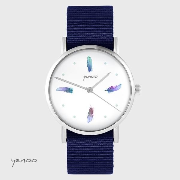 Zegarek yenoo - Turkusowe piórka - granatowy, nato