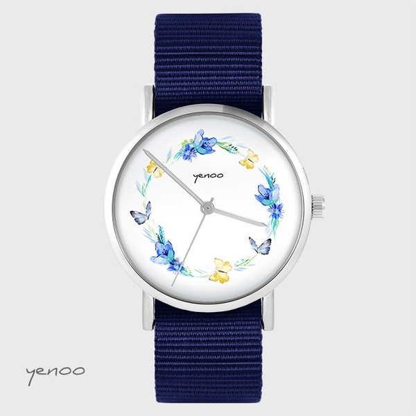 Watch yenoo - Wreath of butterflies - navy blue, nato