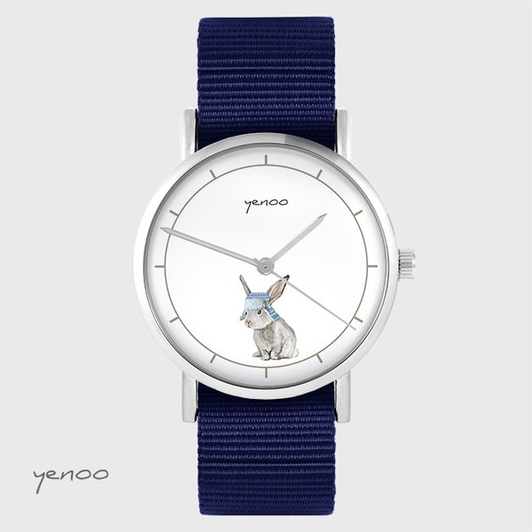 Yenoo watch - Hare - navy blue, nato