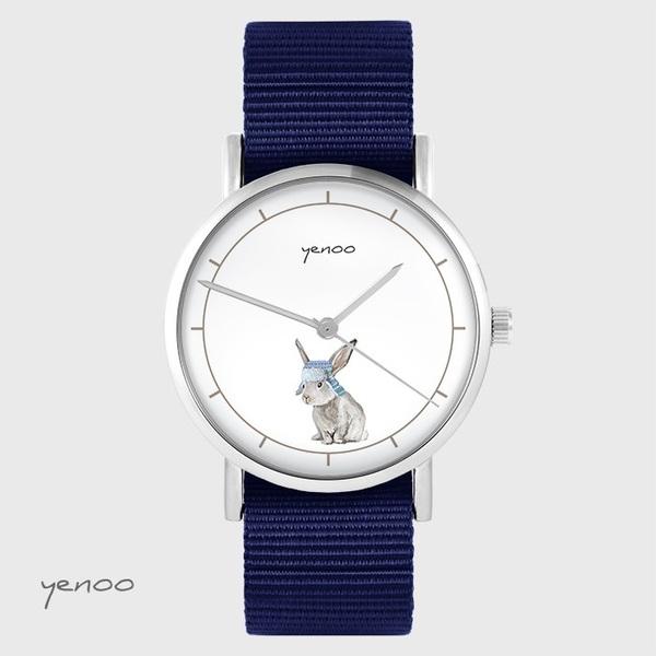 Zegarek yenoo - Zając - granatowy, nato