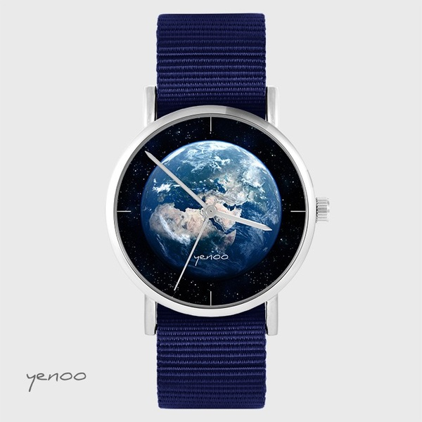 Yenoo watch - Earth - navy blue, nato