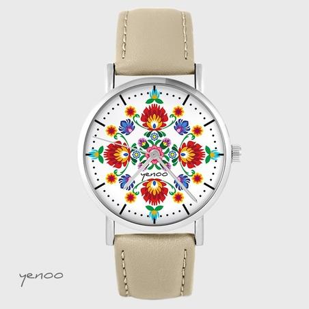 Watch - Folk mandala - beige, leather