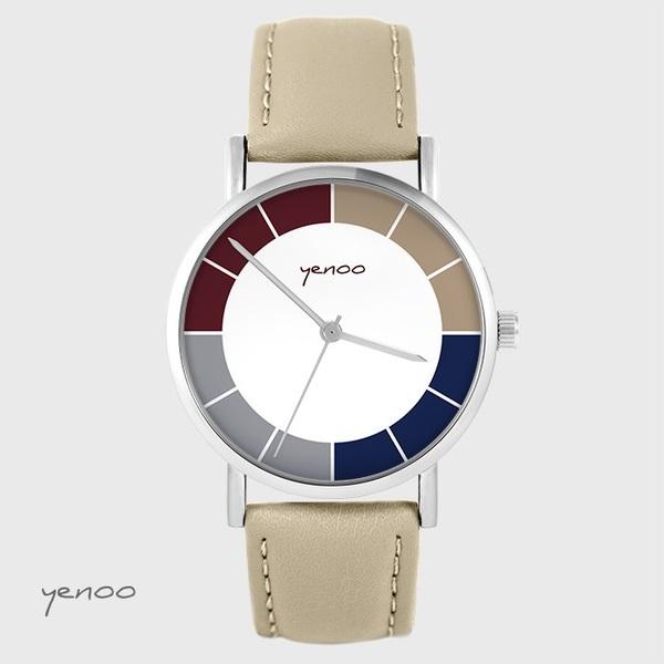 Zegarek yenoo - Classic tricolor - beżowy, skórzany