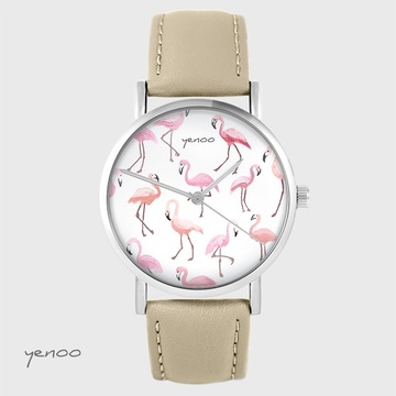 Yenoo watch - Flamingos - beige, leather