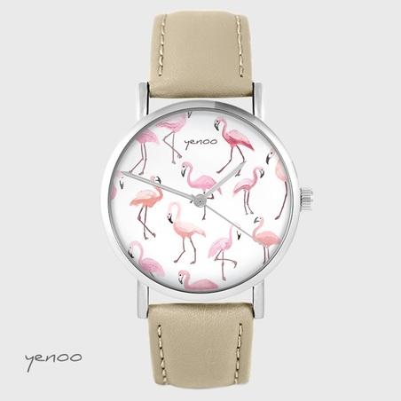 Yenoo watch - Flamingos - beige, leather