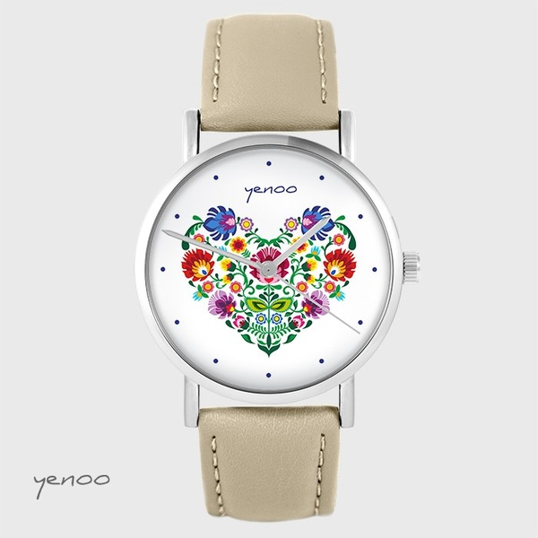 Yenoo watch - Folk heart - beige, leather