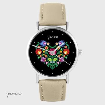 Yenoo watch - Folk heart, black - beige, leather