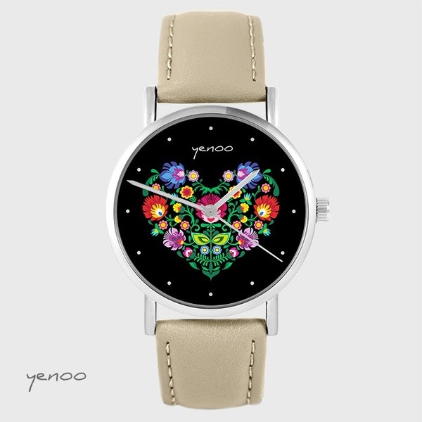 Yenoo watch - Folk heart, black - beige, leather