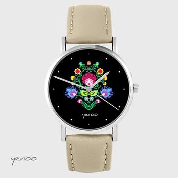 Yenoo watch - Folk, black - beige, leather