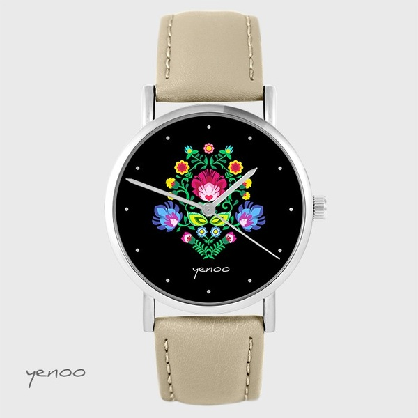 Yenoo watch - Folk, black - beige, leather