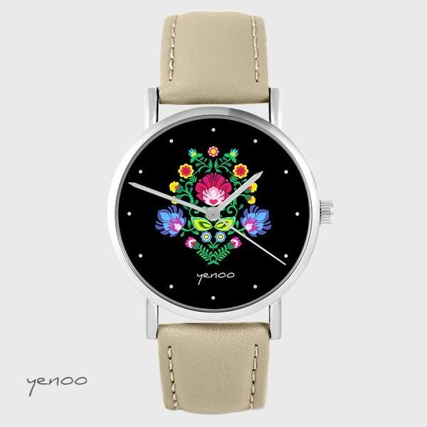 Zegarek yenoo - Folkowy, czarny - beżowy, skórzany
