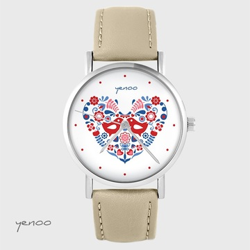 Yenoo watch - Folk birds - beige, leather