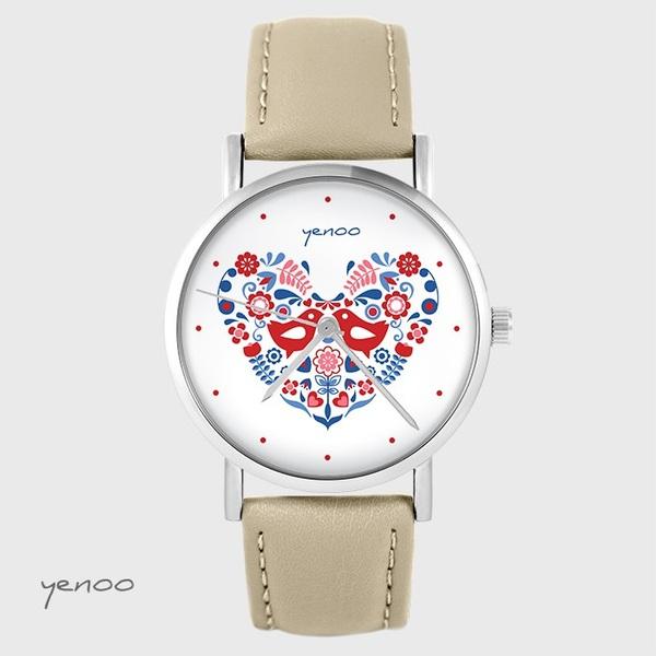 Zegarek yenoo - Ptaszki folkowe - beżowy, skórzany
