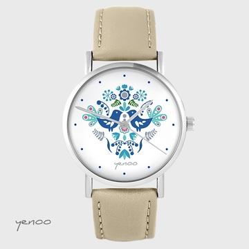 Yenoo watch - Folk birds, blue - beige, leather