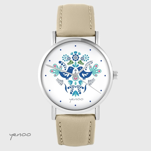 Yenoo watch - Folk birds, blue - beige, leather