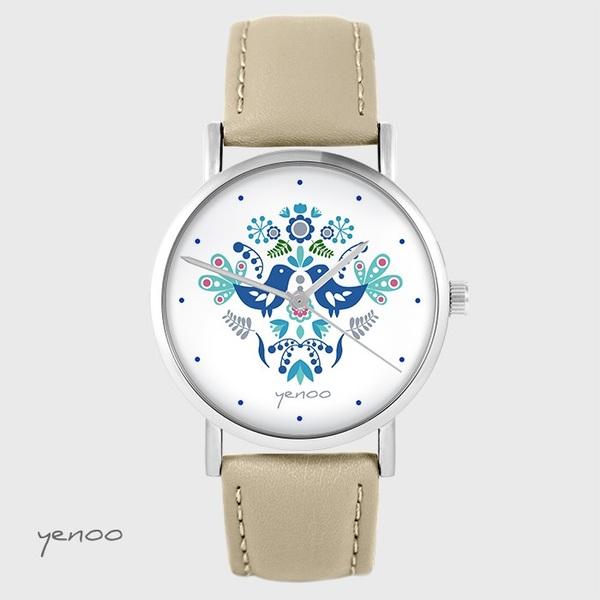 Zegarek yenoo - Ptaszki folkowe, niebieskie - beżowy, skórzany