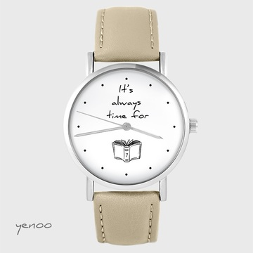 Watch yenoo - It is always time for a book - beige, leather