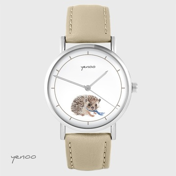Yenoo watch - Hedgehog - beige, leather