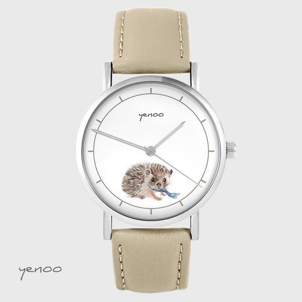 Yenoo watch - Hedgehog - beige, leather