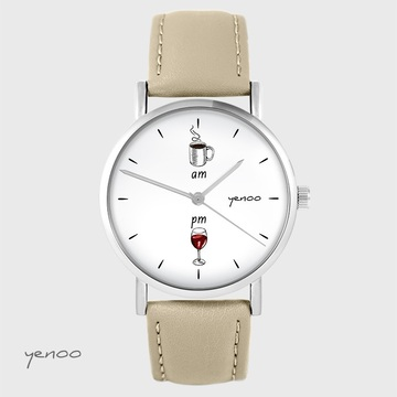 Yenoo watch - Coffee and wine - beige, leather