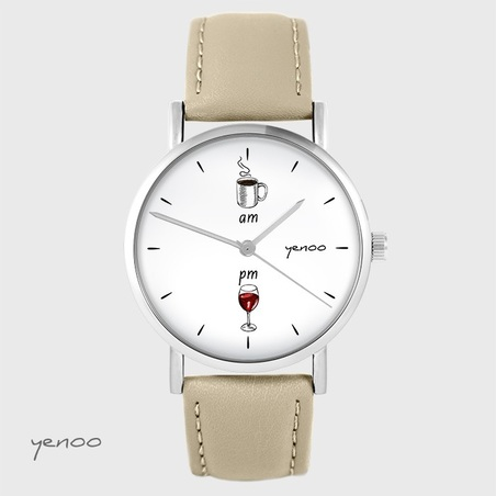 Yenoo watch - Coffee and wine - beige, leather