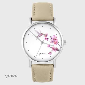 Zegarek yenoo - Koliber oznaczenia - beżowy, skórzany