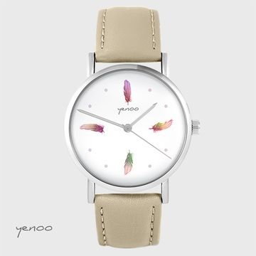 Yenoo watch - Colorful feathers - beige, leather