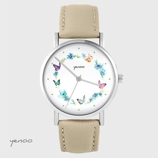 Zegarek yenoo - Kolorowy wianek - beżowy, skórzany