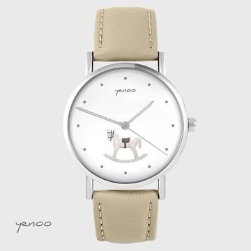 Yenoo watch - Rocking horse - beige, leather