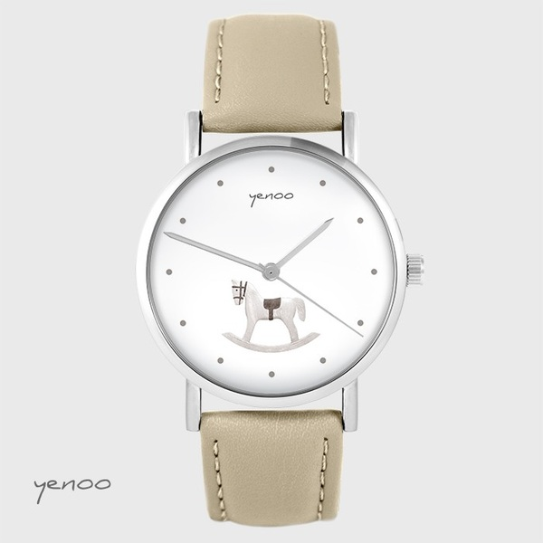 Yenoo watch - Rocking horse - beige, leather
