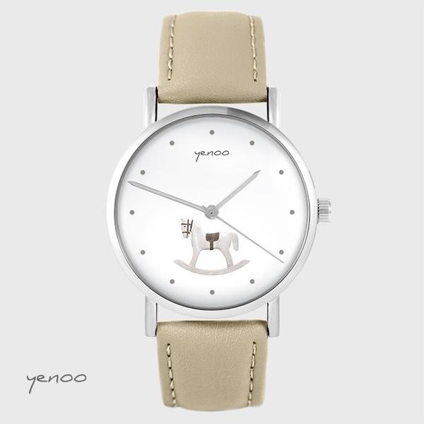 Zegarek yenoo - Konik na biegunach - beżowy, skórzany